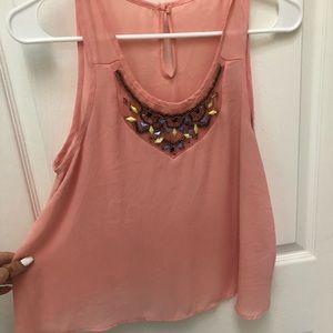 Peach beaded chiffon shirt